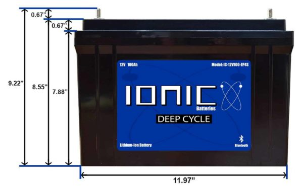 Ionic Lithium Deep Cycle 12 Volt 100Ah Battery Front View Dimensions