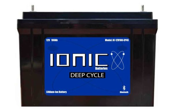 Ionic Lithium Deep Cycle 12 Volt 100Ah Battery Front View