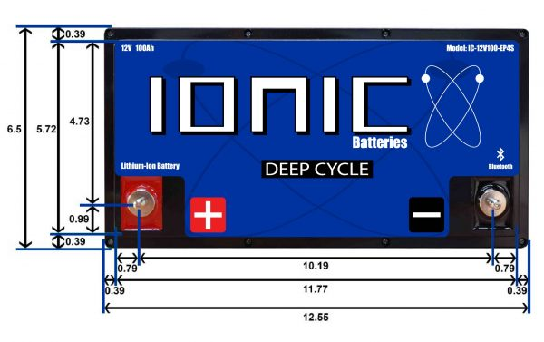 Ionic Lithium Deep Cycle 12 Volt 100Ah Battery Dimensions