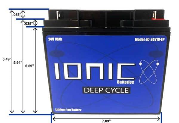 Ionic 24 Volt 10Ah Lithium Battery Side View Measurements