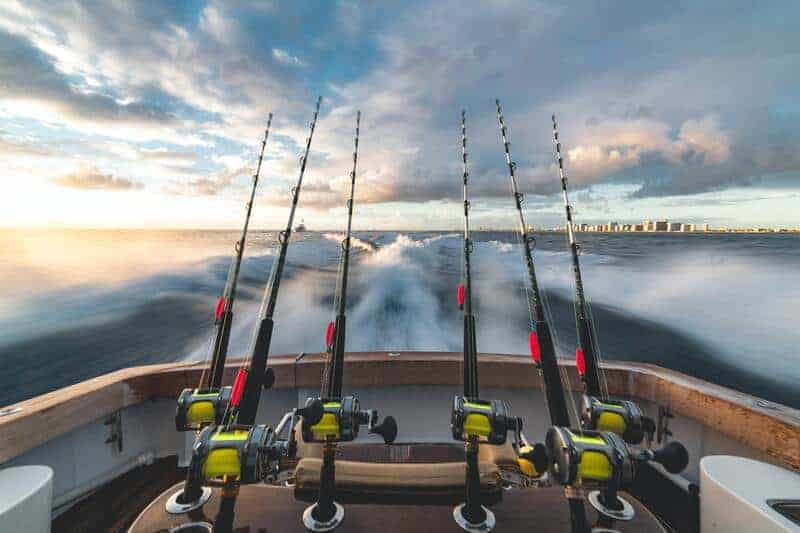 Trolling Fishing Poles On The Back Of A Bass Boat.