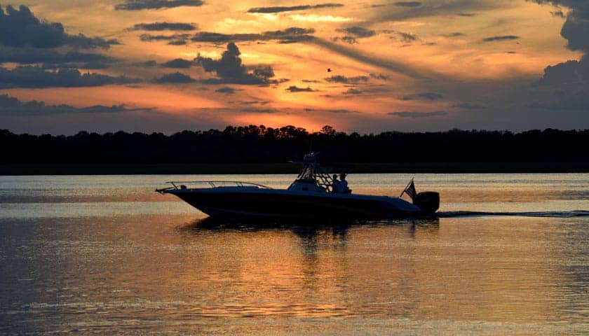 Two fishermen driving in a bass boat on the lake as the sun sets behind trees in the background.
