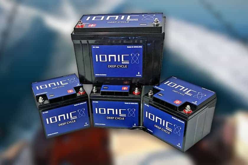 Image of four blue and black Ionic deep cycle lithium batteries.