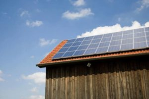 Off grid house with solar panels.